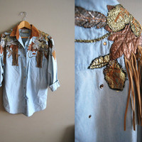 The High Fashion Cowgirl - Vintage 80s Denim Fringe Metallic Oversized Blouse Top