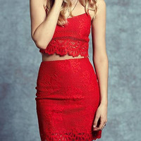 Red Lace Crop Top and Mini Skirt
