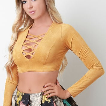 Vegan Suede Corset Cage Crop Top