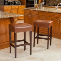 Duff Backless Leather Bar Stools (Set of 2)