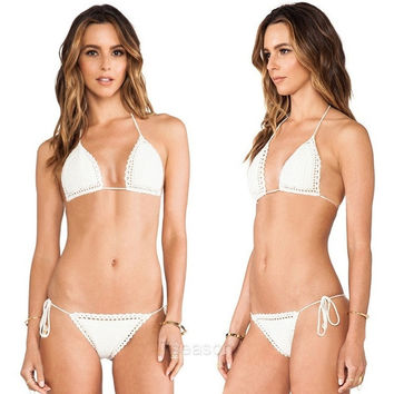 Sexy handmade Swimwear Crochet Beach Swimsuit Cover Up Knitted Bikini Halter 7_S SV020089 (Size: 2, Color: White) = 1905769092