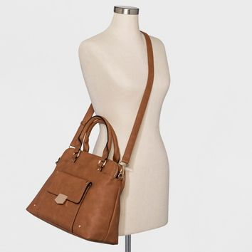 VR By Violet Ray Triple Compartment Satchel Handbag - Cognac
