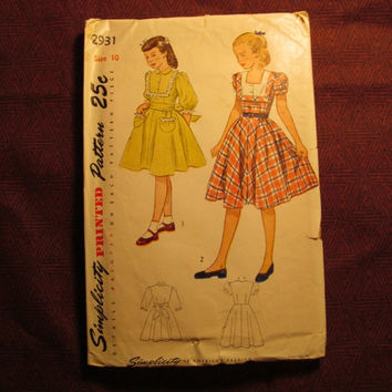 Sale Complete 1940's Simplicity Sewing Pattern, 2931! Size 10 Girls/Kids/Child/Full Flared Dress/Long or Short Sleeve Dress/button up bodice