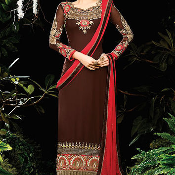 Chocolate and Red Embroidered Straight Cut Suit