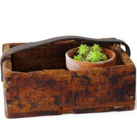 Rustic Wood Tote, Vintage Crate Box, Tool Caddy