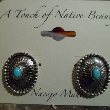 Authentic Navajo,Native American Southwestern sterling silver sleeping beauty turquoise concho stud earrings.