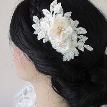 ivory bridal lace hair comb - bridal hair comb - bridal lace headpiece - bridal headpiece - wedding - ivory