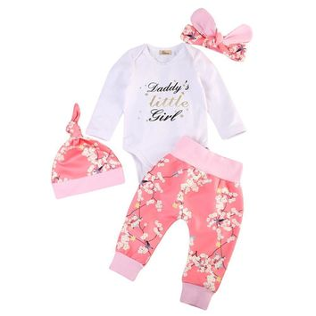 Daddy's Little Girl Infant Baby Longsleeve Onesuit And Long Pants