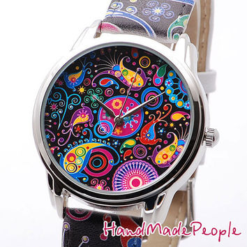 Women Watch, Paisley Wristwatch, Watch, Unique Women Wrist Watch, Gift for Her, Gift Idea for Women, Anniversary Gift - Free Shipping
