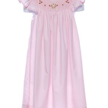 Mom & Me Smocked Pink Girls Dress w. Angel Wing Sleeves