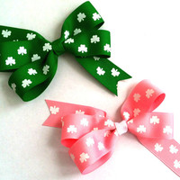 Girls/Toddlers St. Patrick's Day Hair Bows: Pink or Emerald Green Shamrocks