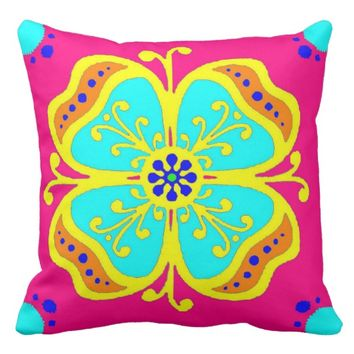 Moroccan Flower Design Pillow