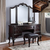 3 pc Sheffield dark wood finish bedroom makeup vanity sitting table and mirror set