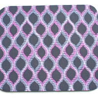 Chevron Mouse Pad mousepad / Mat - Rectangle or round - A GIRL Thing ARIEL - Pink Gray trellis