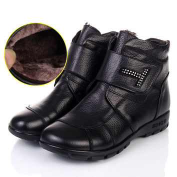 Women Genuine Leather Flat Ankle Boots