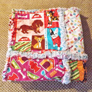 Rag Quilt Lovey, Security Blanket, Puppies, Cats, Perfect for a Baby Boy or Girl, Purple, Blue, Red, Green