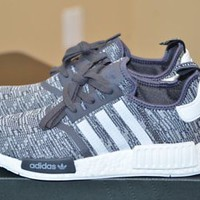 ADIDAS WOMENS NMD_R1 BOOST GLITCH CAMO GREY WHITE RUNNING SHOES BY3035