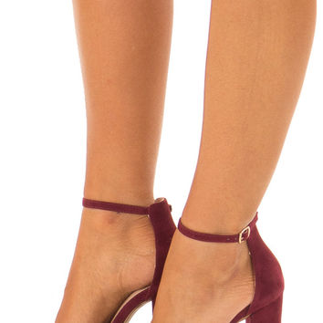 Merlot Faux Braided Velvet Sandal High Heels with Ankle Strap