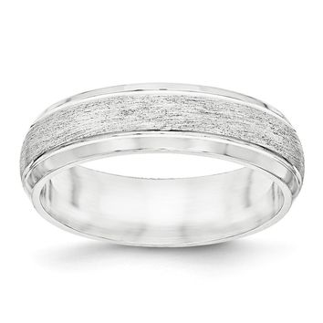 Sterling Silver Rhodium-plated 6mm Brushed Fancy Band Size 9.5