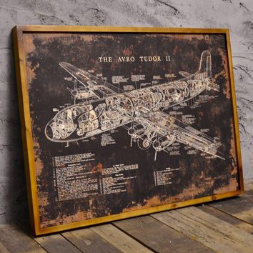 American retro loft industrial wind aircraft blackboard painted wooden bar cafe wall mural decoration painting wall