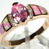 14k rose gold plated pink topaz ring with fire opal inlay