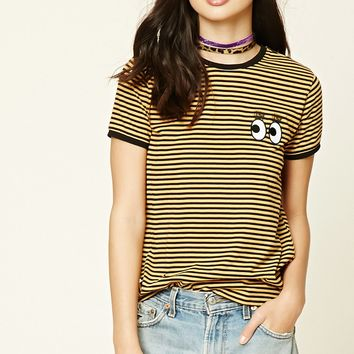 Eyes Striped Ringer Tee