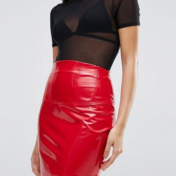 ASOS Vinyl High Waisted Mini Skirt at asos.com
