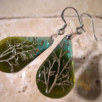 Reindeer Lichen Teardrop Resin Earrings, Moss Jewelry, Plant jewellery, woodland, forest, nature, fungi, Cladonia, green, surgical steel