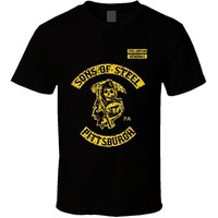 LEQEMAO 2017 fashionT-Shirt Bandit Sons of Steel Pittsburgh Curtain Steelers SOa Reaper Footballer cotton O-Neck T Shirt