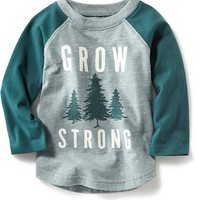 "Old Navy Long Sleeve ""Grow Strong"" Raglan Tee For Baby"