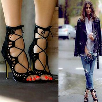 2016 Hot Fashion Women Pumps Women Shoes Sandals Lace up High Heels Cut Outs Shoes Sum