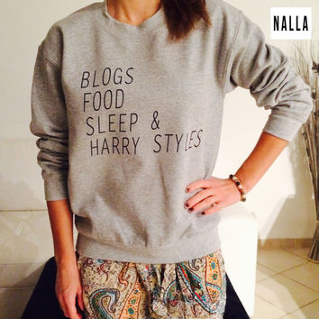 Blogs food sleep and harry styles gray sweatshirt crewneck fashion fangirl