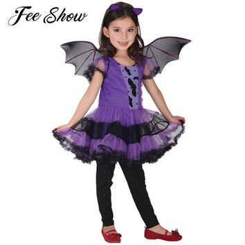 Cute 3pcs Girls Halloween Purple Bat Vampire Princess Dress Wing Headband Cosplay Costume Kids Sets Scary Clown Ghost Witch 4-8Y