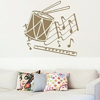 Wall Vinyl Sticker Decal Drum and a Flute Musical Notes Nursery Room Nice Picture Decor Mural Hall Wall Ki802