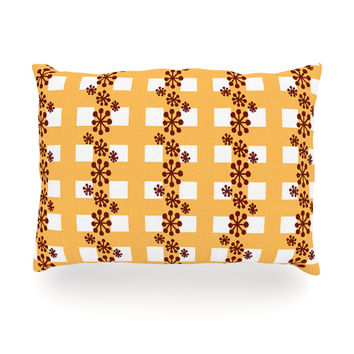 "Jane Smith ""Mushroom Repeat"" Brown Yellow Oblong Pillow"