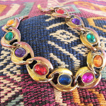 Copper Plate Glass Link Bracelet Multi Color Cabachons Vintage Jewelry Gift