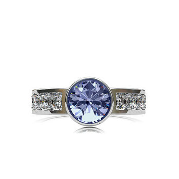 Light Blue sapphire engagement, white gold, White sapphire, engagement ring, blue, solitaire, bezel, wedding ring, sapphire