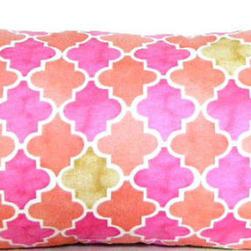 Orange and Pink Lumbar Pillow, Pillow with Orange, Hot Pink, Orange, and Green Throw Pillow Covers,