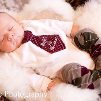 Baby Boy. Baby's 1st Christmas 2013 Personalized Tie Bodysuit. Merry Christmas, Christmas 2013, Hanukkah, New Baby Holiday Gift or Picture