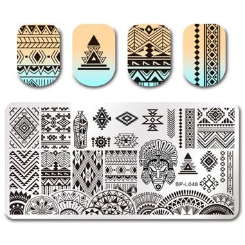 12*6cm Rectangle Nail Art Stamping Plate Ethnic Design Manicure Nail Template BP-L048