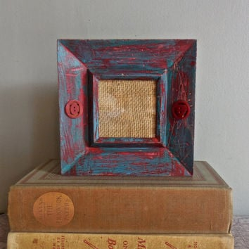 "Standing Picture Frame Photo 3""x3""-UpCycled Wood Frame-Rustic Painted Distressed Turquoise & Red-Adorned Bakelite Vintage Buttons"
