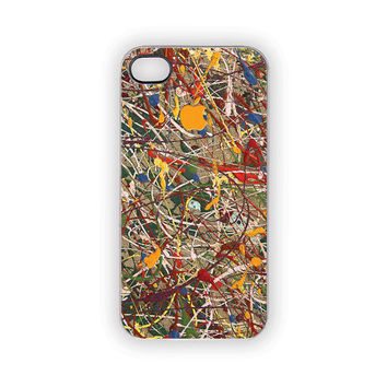Painted iPhone Case, Jackson Pollack Style, Painted, Apple, Artsy, Hip, Urban, Industrial, Rainbow, Colorful, iPhone 5, 4S, 4