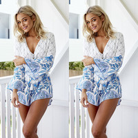 Summer Sexy Long Sleeve Shaped Print Jumpsuit [7767302535]
