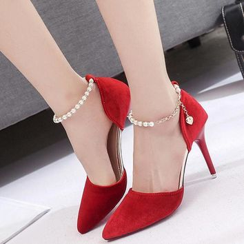 Elegant Women Pumps Sexy Ankle Straps High Heels Shoes Summer Suede Heel Sandals