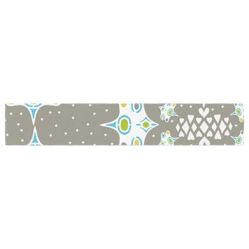 "Miranda Mol ""Ornamental Splash Silver"" Gray Table Runner"