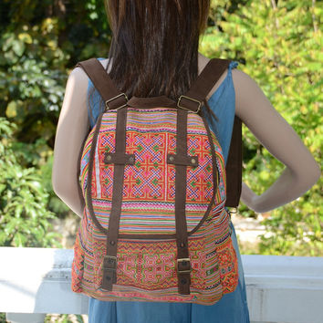 SPECIAL PRICE Orange Backpack Book Bag Handmade HMONG Vintage Fabric Fair Trade Thailand (510)