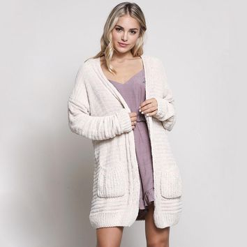 textured knit shawl cardigan - cream