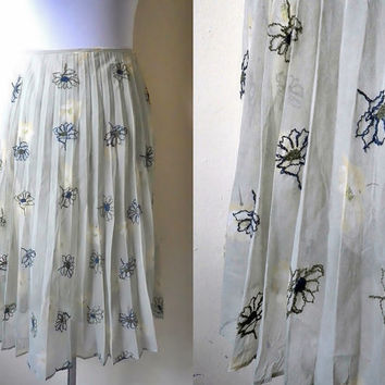Spring Sale: artichoke green floral accordion pleated skirt (26 inches)