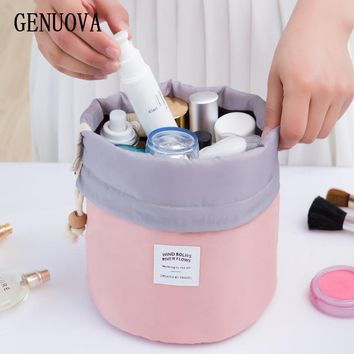 Creative Barrel Shaped Travel Cosmetic Make Up Bag Drawstring Shrink Wash Kit Bags Toiletry Organizer Storage Beauty Magic Pouch