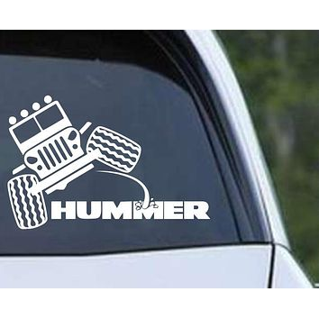 Jeep Peeing on Hummer Funny Die Cut Vinyl Decal Sticker